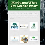 "You're Invited to the March Parent/Guardian Workshop: ""Marijuana: What You Need to Know"""
