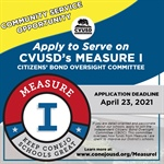 Community Service Opportunity: Apply to Serve on the CVUSD Measure I Citizens' Bond Oversight Committee