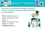 Rising 6th Grader & Rising 9th Grader Information Nights for English Learner & Spanish Speaking Families