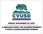 A Message from the Superintendent: CVUSD Classes Resume Monday