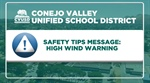 Safety Tips Message: High Wind Warning