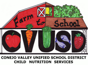 Farm to School logo with CVUSD text and fruit and vegetable images