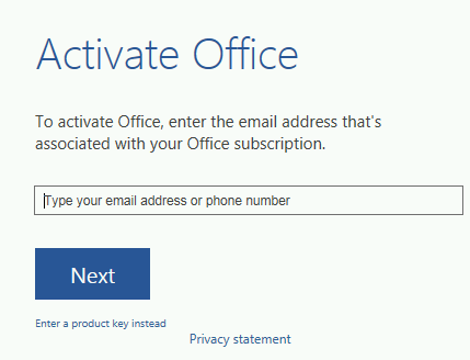 activate office screen shot