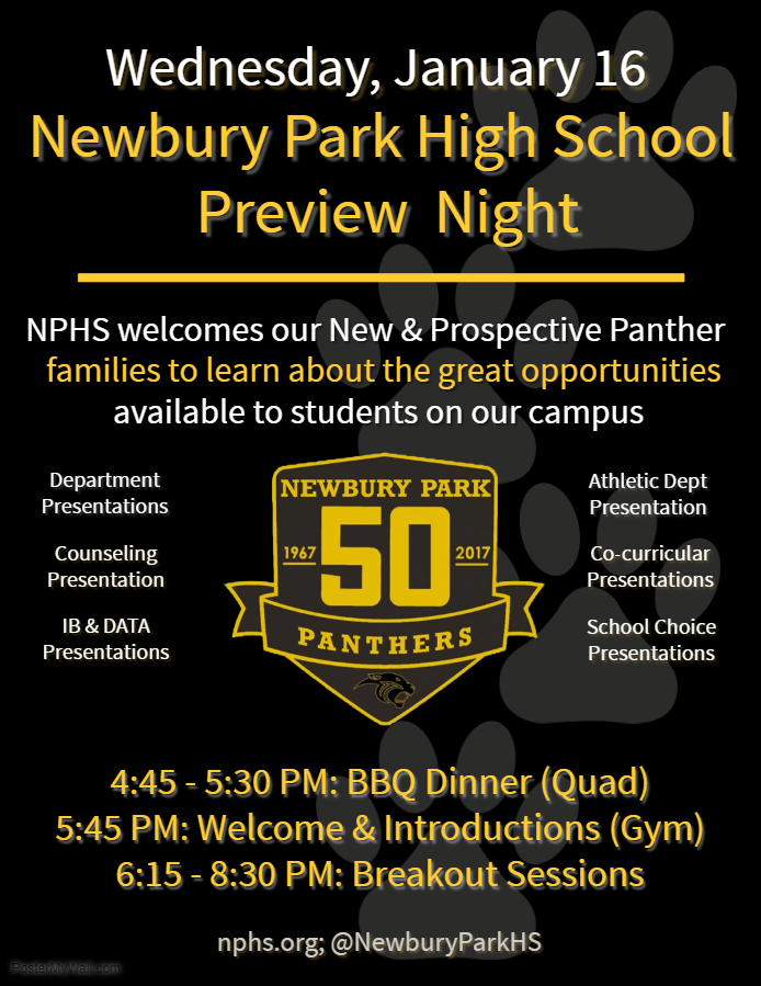 NPHS Preview Night flyer