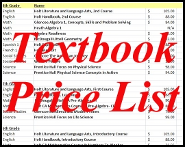 Textbook Price List