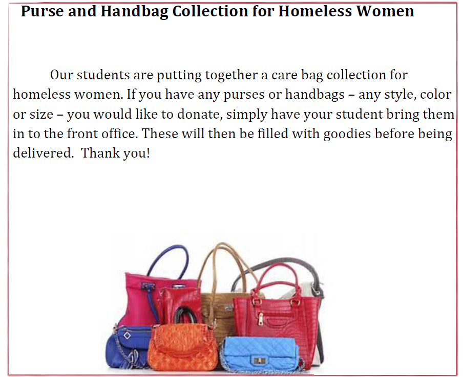 Collecting Handbags for Homeless Women