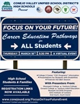 "High School Students & Families - Register Now for the ""Focus on Your Future!"" Career Education Pathways for All Students Virtual Event"