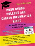 Save the Date - Virtual CVUSD College & Career Information Night - September 30, 2020